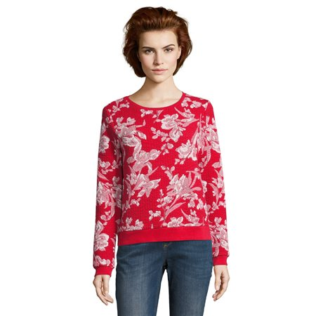 Betty & Co Ribbed Cuff Floral Jumper  - Click to view a larger image