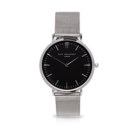 Elie Beaumont Oxford Large Silver Face Black Strap  - Click to view a larger image
