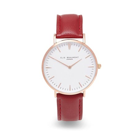 Elie Beaumont Oxford Large Face Red Strap  - Click to view a larger image
