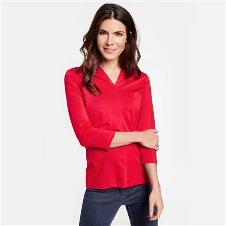 Gerry Weber 3/4 Sleeve Top With Decorative Pleats Red  - Click to view a larger image