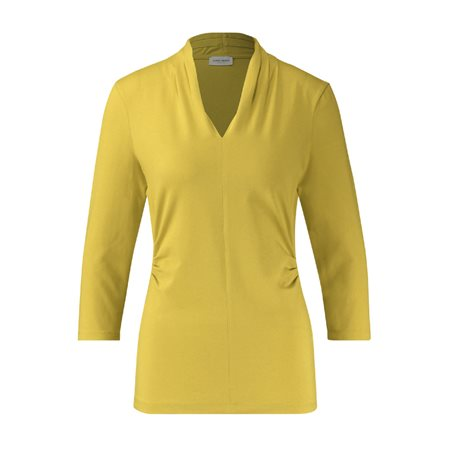 Gerry Weber 3/4 Sleeve Top With Decorative Pleats Lemon  - Click to view a larger image