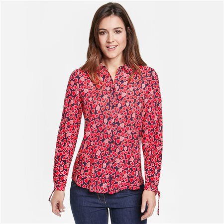 Gerry Weber Heart Print Blouse With Tie Details  - Click to view a larger image