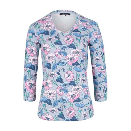Olsen Floral Print V-Neck Top  - Click to view a larger image
