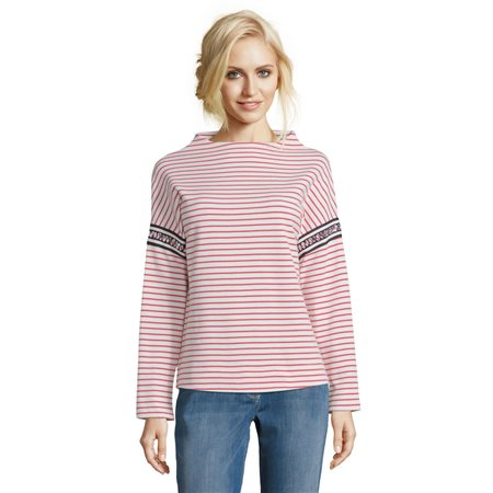 Betty & Co Stand Up Collar Striped Jumper  - Click to view a larger image