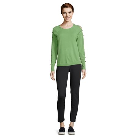 Betty Barclay Fine Knit Beaded Jumper Green  - Click to view a larger image