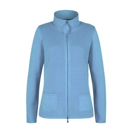 Olsen Knitted Zip Cardigan Blue  - Click to view a larger image
