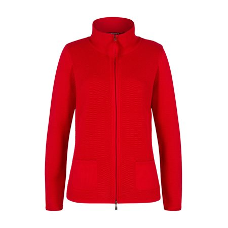 Olsen Knitted Zip Cardigan Red  - Click to view a larger image