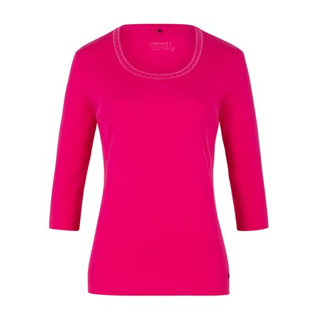 Olsen Jewelled Cotton Top Pink  - Click to view a larger image
