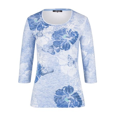 Olsen Flower Print Top Blue  - Click to view a larger image