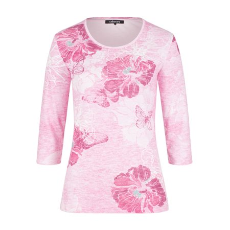 Olsen Flower Print Top Pink  - Click to view a larger image