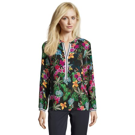 Betty Barclay Tropical Floral Blouse Black  - Click to view a larger image
