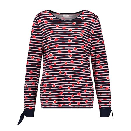 Gerry Weber Striped Loveheart Top Black  - Click to view a larger image