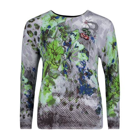 Betty Barclay Floral Print Jumper With Brooch Grey  - Click to view a larger image