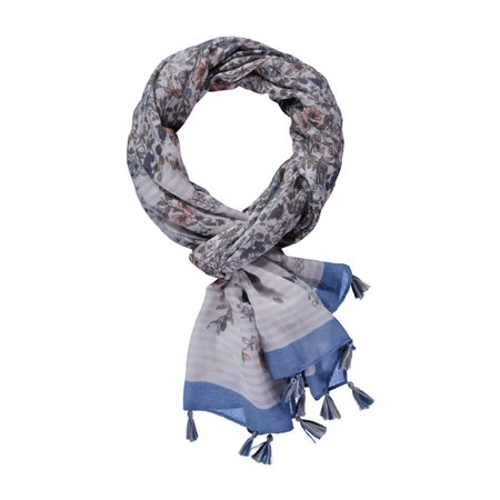 Taifun Floral Print Scarf Silver  - Click to view a larger image