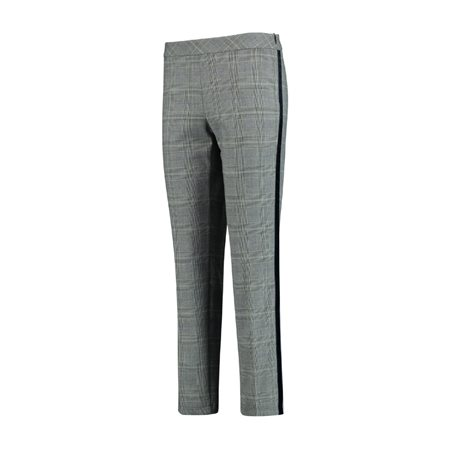 Taifun Check Trousers With Suede Detail Grey  - Click to view a larger image