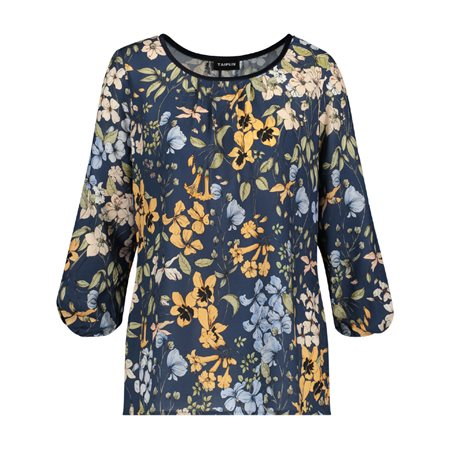 Taifun Floral Print Blouse Black  - Click to view a larger image
