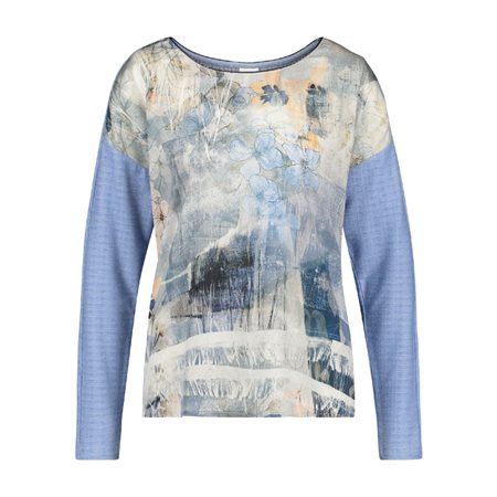 Taifun Faded Floral Print Top Blue  - Click to view a larger image