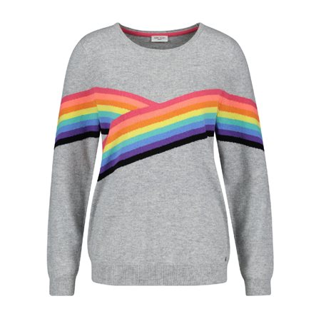 Gerry Weber Rainbow Stripe Jumper Grey  - Click to view a larger image