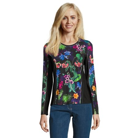 Betty Barclay Floral Print Jumper Green  - Click to view a larger image
