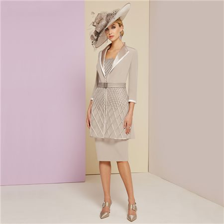 Ronald Joyce Veni Infantino Dress With Coat Taupe  - Click to view a larger image