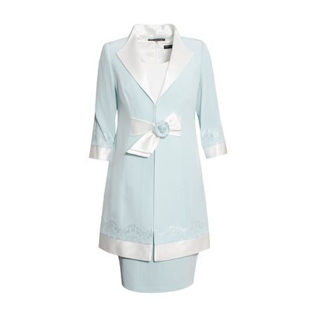 Ronald Joyce Two Tone Shift Dress With Coat Blue  - Click to view a larger image