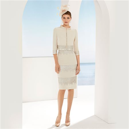 Rosa Clara Dress With Jacket Beige  - Click to view a larger image