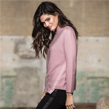 Monari High Collar Jumper Lilac  - Click to view a larger image