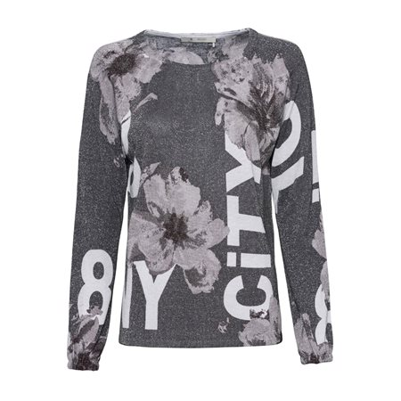 Monari Floral Printed Shimmer Top Grey  - Click to view a larger image