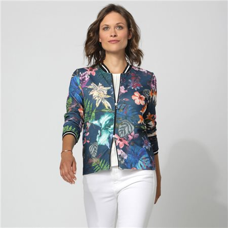 Erfo Ribbed Floral Print Jacket Blue  - Click to view a larger image