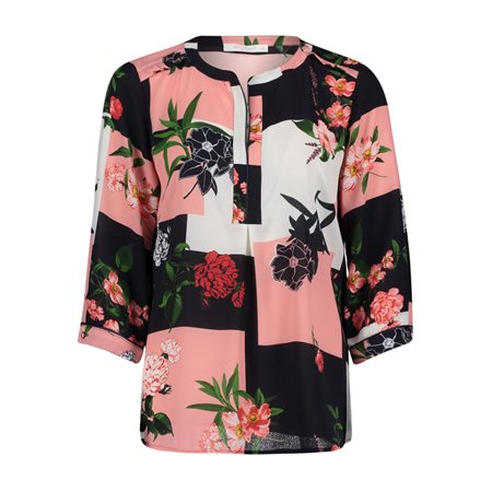 Betty & Co Textured Floral Print Blouse Navy  - Click to view a larger image