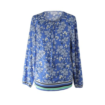 Erfo Floral Print Blouse With Tie Neckline Blue  - Click to view a larger image