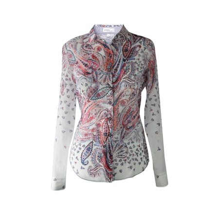 Erfo Paisley Print Cotton Shirt Red  - Click to view a larger image