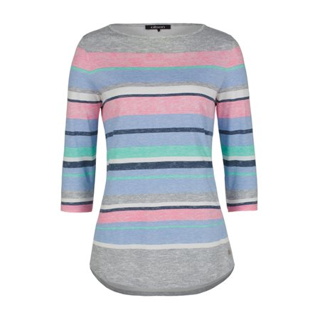 Olsen Colourful Striped Top Grey  - Click to view a larger image