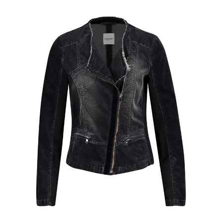 Taifun Washed Cotton Biker Jacket Black  - Click to view a larger image