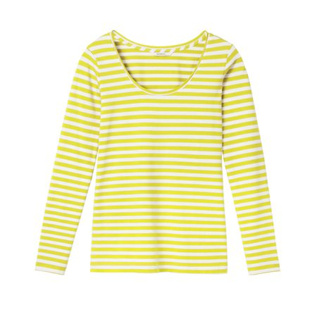 Sandwich Long Sleeved Stripe Top Yellow  - Click to view a larger image