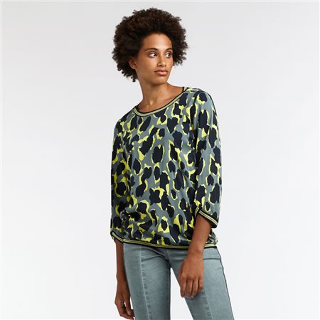 Sandwich Animal Print Blouse Green  - Click to view a larger image