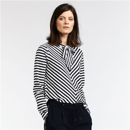 Sandwich Striped Top With Neck Tie Navy  - Click to view a larger image