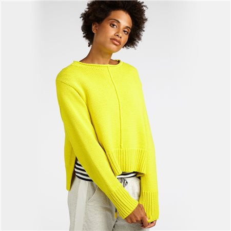 Sandwich Thick Knit Cropped Jumper Yellow  - Click to view a larger image