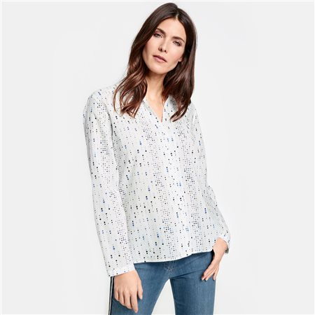 Gerry Weber Dot Patterned Cotton Blouse Cream  - Click to view a larger image