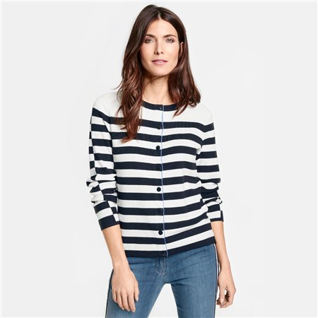 Gerry Weber Striped Cardigan Blue  - Click to view a larger image