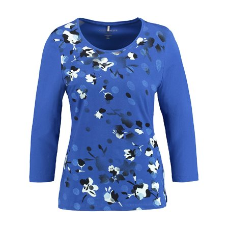 Gerry Weber 3/4 Length Top With Floral Print Blue  - Click to view a larger image