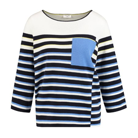 Gerry Weber Striped Jumper With Pocket Blue  - Click to view a larger image
