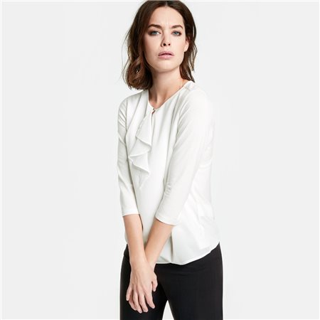 Taifun Chiffron Detailed Blouse White  - Click to view a larger image