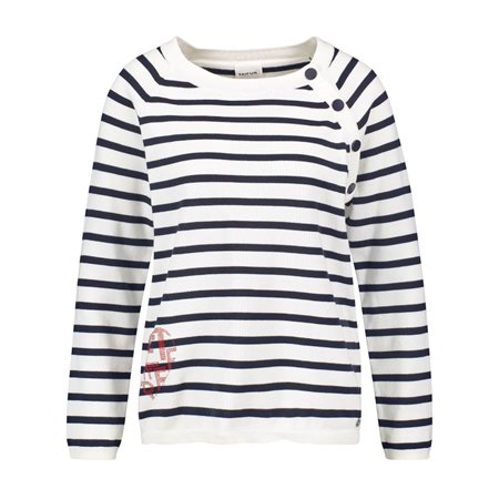 Taifun Striped Jumper With Decorative Buttons Cream  - Click to view a larger image