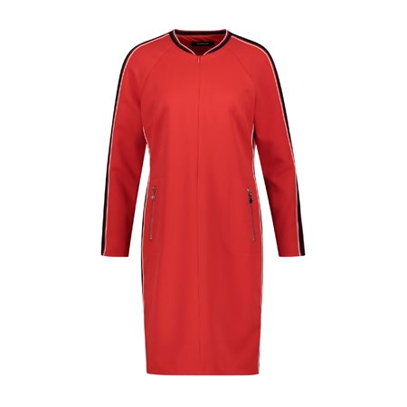 Taifun Collarless Dress Red  - Click to view a larger image
