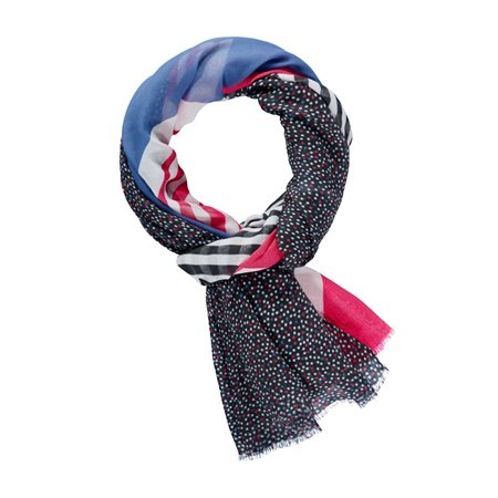 Taifun Mixed Pattern Scarf Navy  - Click to view a larger image