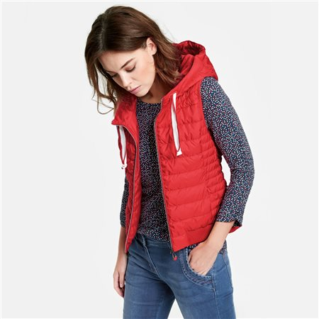 Taifun Quilted Gilet With A Hood Red  - Click to view a larger image