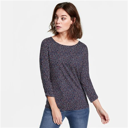 Taifun 3/4 Polka Patterned Top Navy  - Click to view a larger image