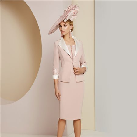 Ronald Joyce Veni Infantino Embroidered Dress With Jacket Pink  - Click to view a larger image