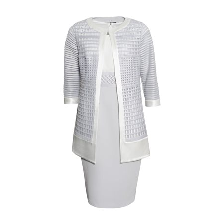 Ronald Joyce Veni Infantino Crepe Dress With Sheer Jacket Silver  - Click to view a larger image